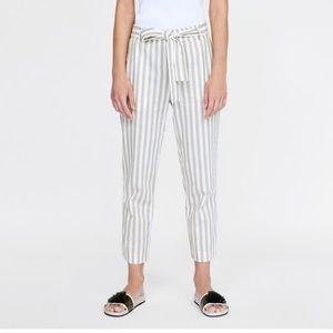 NWOT High Waisted Linen Striped Pants